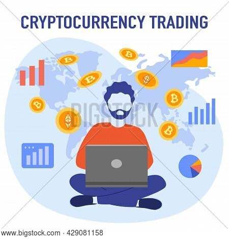 Cryptocurrency Trading Concept Vector Illustration. Investor Trading Bitcoin And Ethereum With Lapto