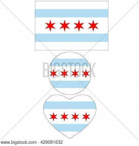 Chicago Flag On White Background. Chicago City Symbol. Chicago Illinois Flag Symbol. Red Star And Bl