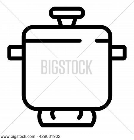 French Saucepan Icon Outline Vector. Kitchen Chef. Dish Cookware