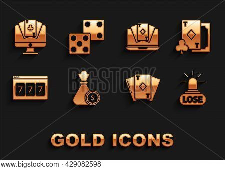 Set Money Bag And Casino Chips, Playing Card With Diamonds, Casino Losing, Online Slot Machine Lucky