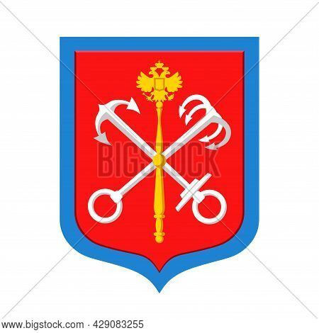 Coat Of Arms Of St. Petersburg (from 1991), Heraldry Symbol Of Russian Northern Capital On River Nev