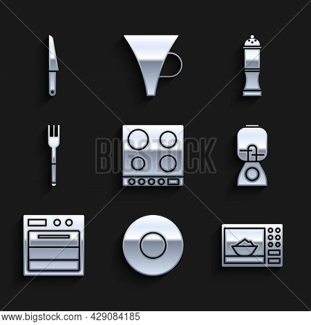 Set Gas Stove, Plate, Microwave Oven, Blender, Oven, Fork, Pepper And Knife Icon. Vector