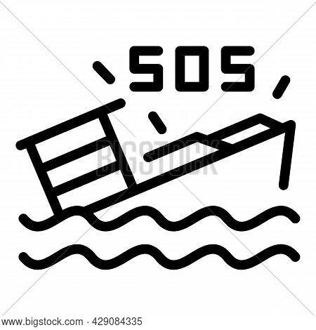 Ship Sos Icon Outline Vector. Emergency Call. Rescue Hotline