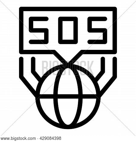 Global Sos Icon Outline Vector. Emergency Alarm. Siren Alert