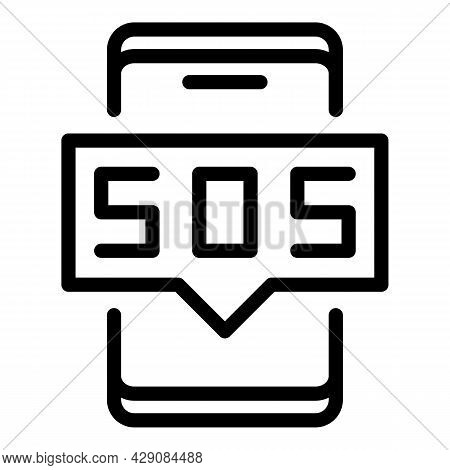 Sos Smartphone Icon Outline Vector. Emergency Button. Alarm Help