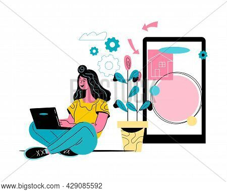 Woman Sitting Near Mobile Phone And Using Laptop. Computer And Internet Technology For Communication
