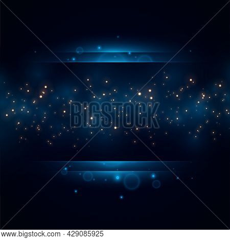 Royal Blue Golden Sparkles Background Design Vector Illustration