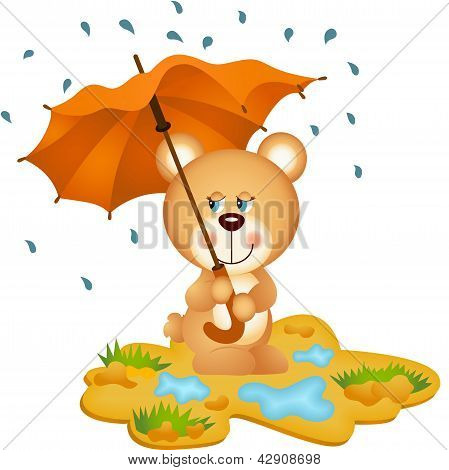 Scalable vectorial image representing a teddy bear under umbrella, isolated on white. poster