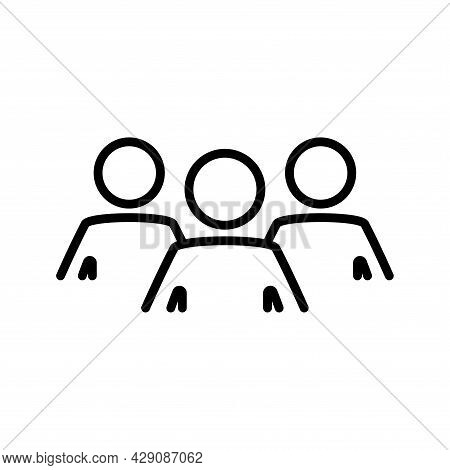 Group Of People. Flat Line Icon Of Group Of People, Team, Collaboration. Outline Symbol For Your Web