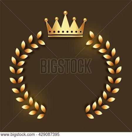 Golden Crown Emblem With Wreath Frame Design Vector Illustration