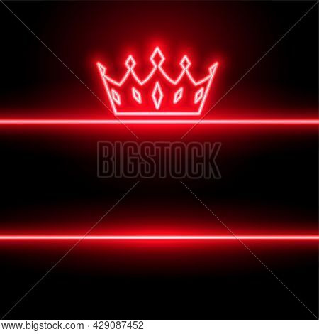 Neon Style Red Crown Background Design Vector Illustration