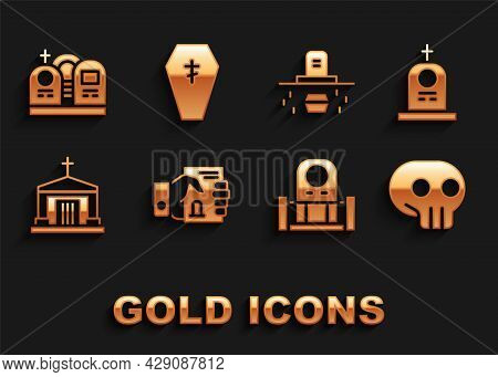 Set Death Certificate In Hand, Grave With Tombstone, Skull, Old Crypt, Coffin, And Coffin Cross Icon