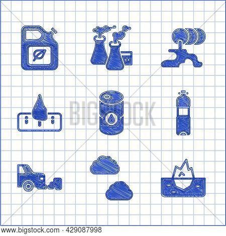 Set Barrel Oil, Cloud, Iceberg, Bottle Of Water, Car Exhaust, Deforestation, Leak And Bio Fuel Canis