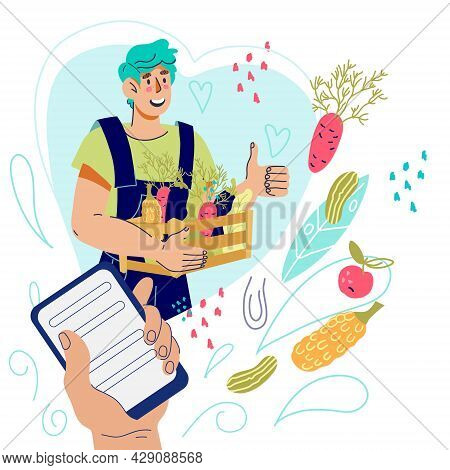 Farmer Production Online Sales And Vegetarian Food Delivery Concept With Farmer Presenting Harvest O