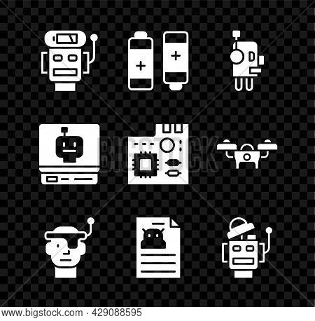 Set Robot Low Battery Charge, Battery, Smart Glasses, Technical Specification, And Motherboard Digit