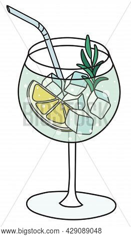 Stylish Hand-drawn Doodle Cartoon Style Gin Tonic In Balloon Cocktail Glass Garnished With Lemon And