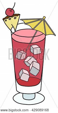 Stylish Hand-drawn Doodle Cartoon Style Red Singapore Sling Cocktail Garnished With Pineapple, Cherr