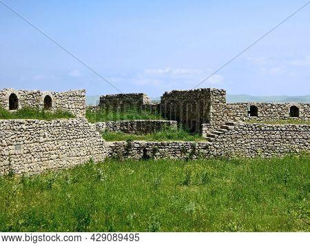 Remains Of Walls & Corner Tower Of Medieval Shusha Castle In Shusha, Nagorno-karabakh. Fortress Is I