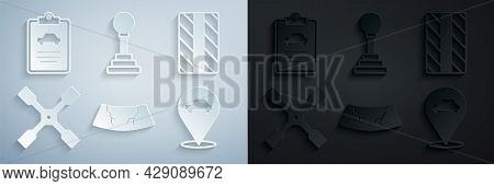 Set Broken Windshield, Car Tire Wheel, Wheel Wrench, Location With Car Service, Gear Shifter And Ins