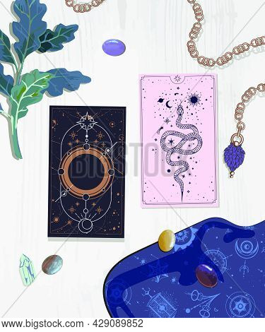 Illustration Of The Layout On The Tarot Cards Cards Of The Self-reflection Session Information Card.