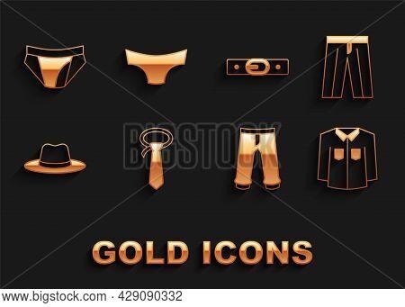 Set Tie, Pants, Shirt, Man Hat, Belt, Men Underpants And Icon. Vector