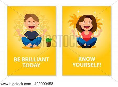 Mindfulness, Meditation, Balance, Yoga Posters Set. Cartoon People Meditates In The Lotus Position.