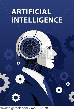 Cyborg. Male Robot In Black Business Suit. Gears Around. Artificial Intelligence Concept Poster. Rea