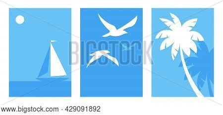Seascape And Nature. Abstract Illustrations Of The Sea, Gulls In The Sky, Palm Trees, Sailing Boat O