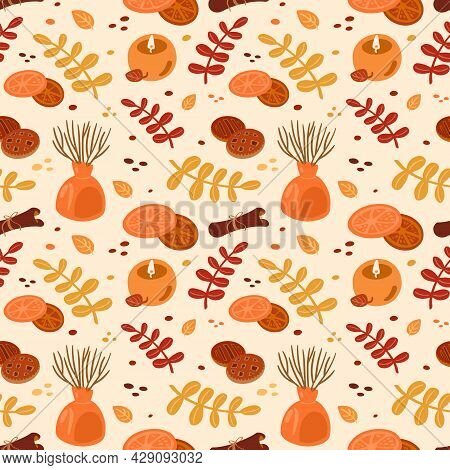Autumn Natural Seamless Pattern. Fall Background Of Red And Yellow Leaves, Cakes, Candles. Texture F