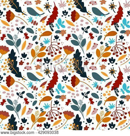 Seamless Pattern With Leaf, Abstract Leaf Texture, Endless Background.seamless Pattern Can Be Used F