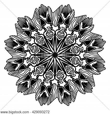Peaceful Oriental Motif Mandala For Meditation Yoga Element Design