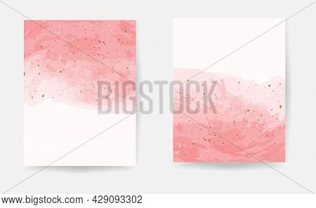 Pink Watercolor With Gold Dust Confetti. Vector Illustration For Wedding And Birthday Invitation Des