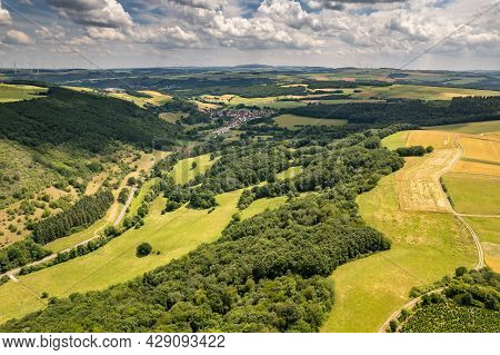 Aerial View Of A Landscape In Rhineland-palatinate, Germany On The River Glan With The Village Breit