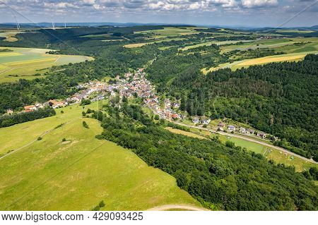 Aerial View Of A Landscape In Rhineland-palatinate, Germany On The River Glan With The Village Jecke