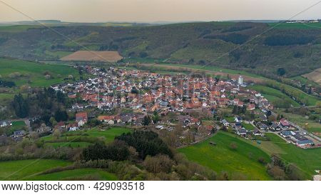 Aerial View Of A Landscape In Rhineland-palatinate, Germany On The River Glan With The Village Rehbo