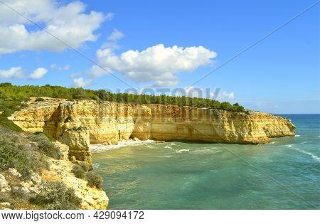 Spectacular Rock Formations On Benagil Beach On The Algarve Coast Of Portugal