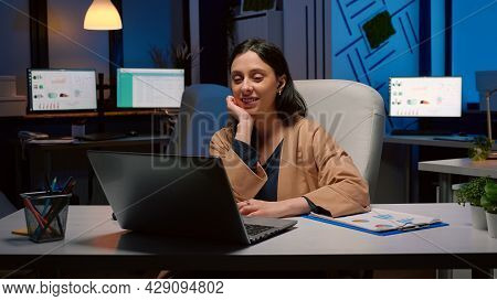 Businesswoman On Business Teammeeting Conference Videocall Online Greeting Remotely Collegues Discus