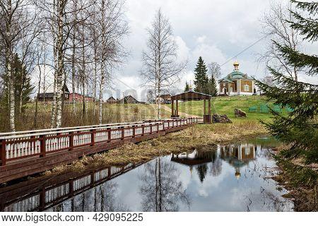 Spring Landscape. Olginsky Monastery In Early Spring, The Church Of St. Nicholas The Wonderworker Is