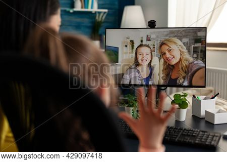 Modern People With Internet Video Call Conference Online Talking To Relatives On Virtual Communicati