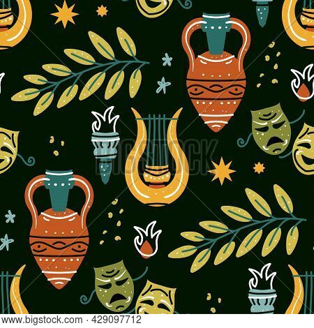 Seamless Pattern With Classic Antique Amphora, Harp, Olive Branch, Torch, Mask. Mythical, Ancient Gr
