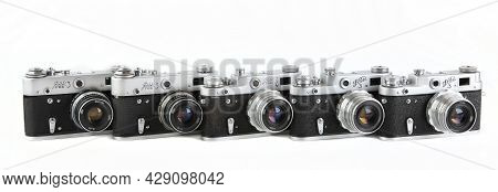 Moscow, Russia, August 07, 2021. The Very Rare Old Soviet 35 Mm Film Rangefinder Cameras Fed-3, Rele