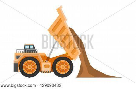 Dump Truck With Body Full Of Soil On White Background. Eps 10.