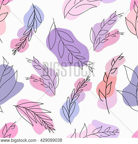 Seamless Vector Pattern With Leaves, Pink  And Purple Spots. Pattern With Minimal Modern Leaves. Doo