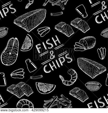 The Famous British Fast Food Is Fish And Chips. Fish And Chips Seamless Pattern. English Fish And Ch