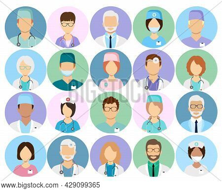 Doctors And Nurses Profile Vector Icons. Surgeon And Therapist, Oculist And Nutritionist Avatars. Do