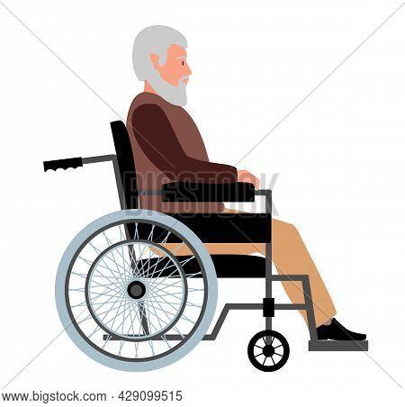 Elderly Man In A Wheelchair. Grandfather Sitting On Wheelchair, Disabled Senior Gentleman Posing In