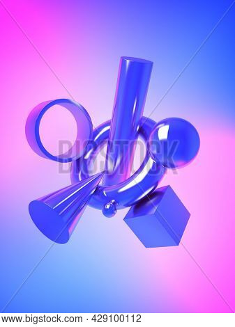 Abstract shape of metal shapes on neon background, 3D illustration, rendering.
