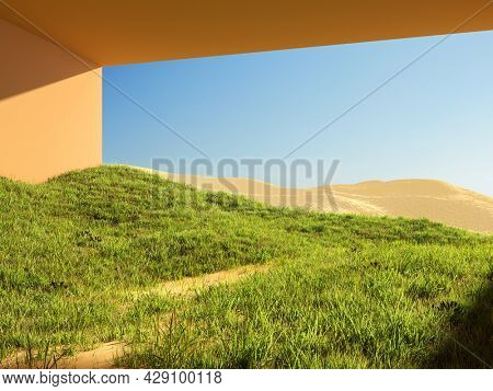 Surreal art concept of a house in the desert, grass and sand. 3D illustration, rendering.