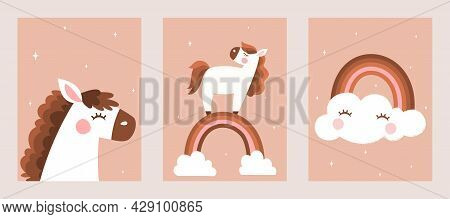 Kids Room Decoration. Cute Pony, Rainbow And Cloud On Pink Background. Abstract Collection Of Poster
