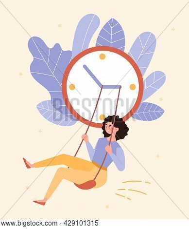 Time For Yourself Concept. Woman Smiles And Swings On Hands Of Large Clock. Rest And Relaxation. Hap